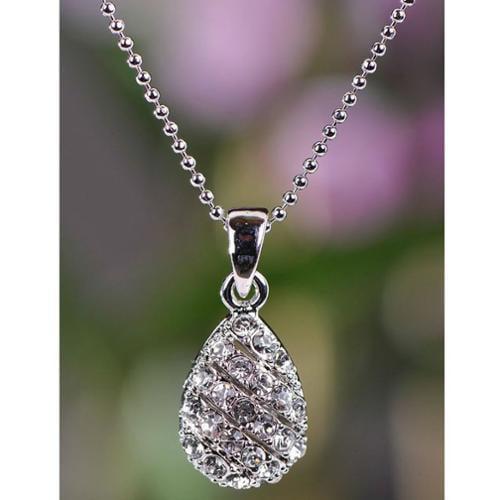 Silvertone Clear Crystal Teardrop Necklace (Thailand)