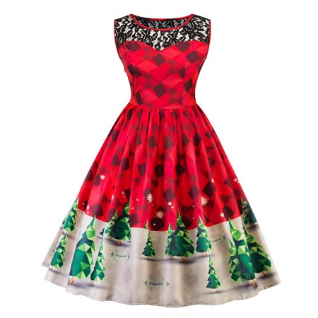 Women Print Lace Christmas Tree Firefly Checkered Vintage Snow Swing Dress - Snow Coming Dresses