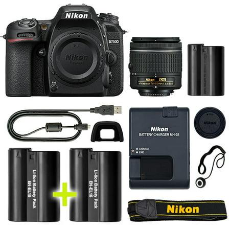 Nikon D7500 Digital SLR Camera with 18-55mm NIKKOR VR Lens + Backup Power Kit