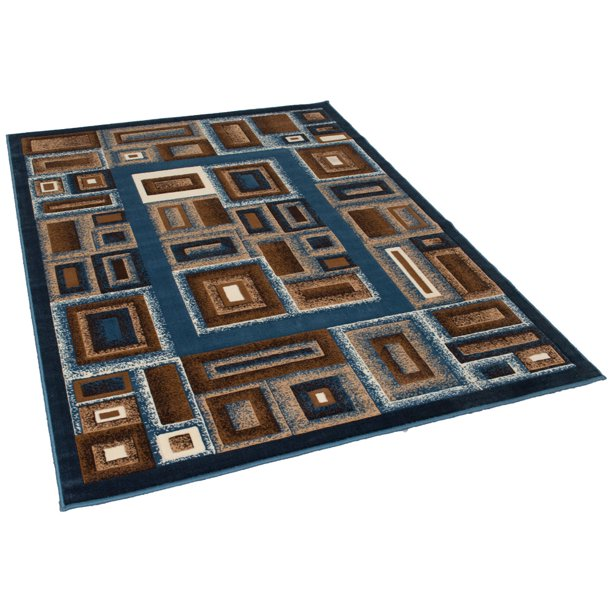 Handcraft Rugs Blue and Chocolate Brown Geometric Abstract ...