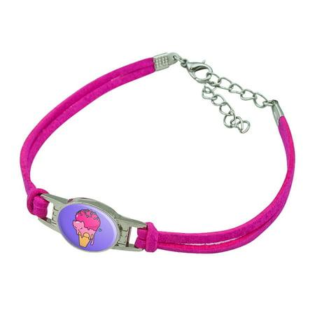 Cute Meowlting Melting Cat Ice Cream Cone Novelty Suede Leather Metal Bracelet (Ice Cream Cone Bracelet)