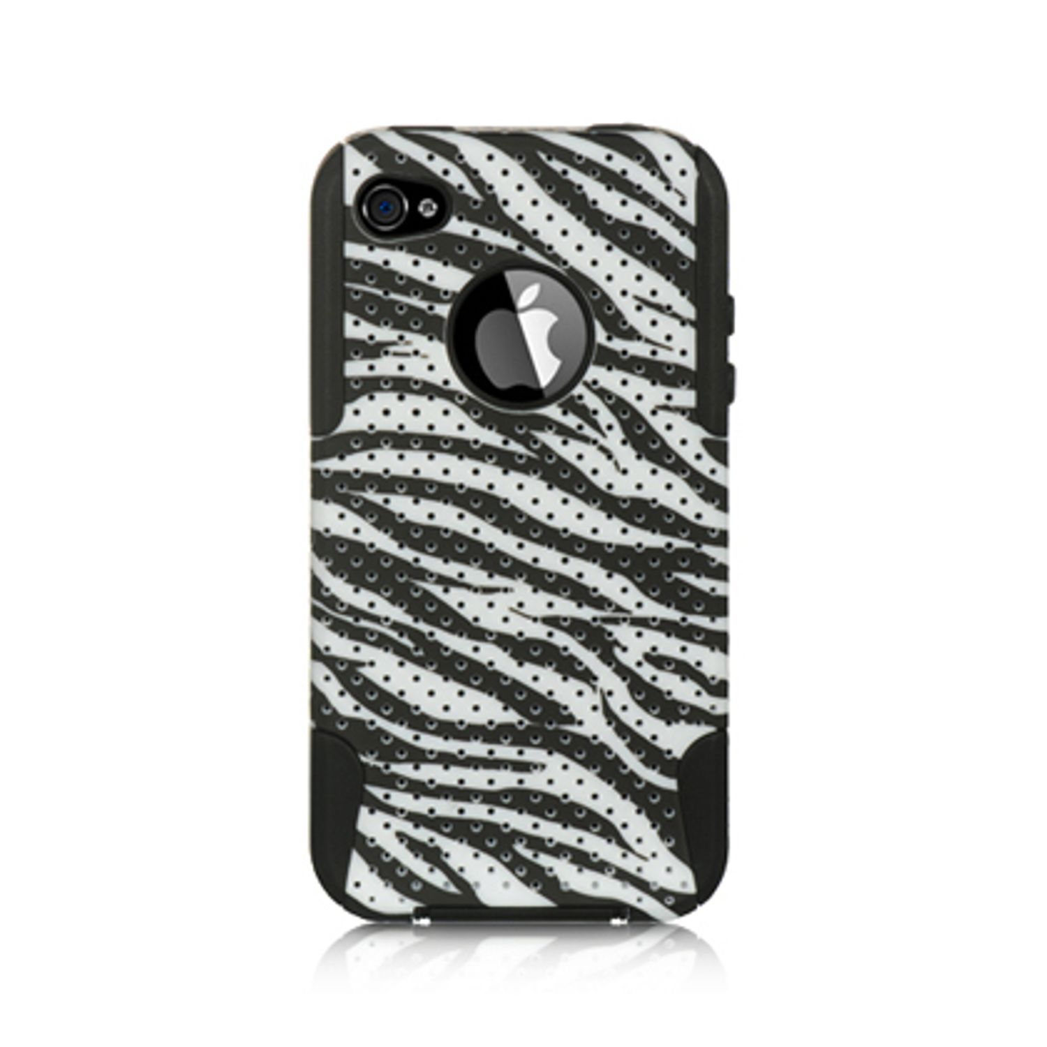 iPhone 4S Case, by Insten Zebra Hybrid Dual Layer Hard Plastic / TPU Shockproof Case Cover  For Apple iPhone 4 / 4S - Black/White