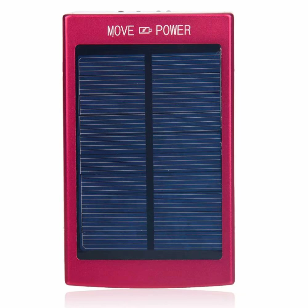 30000mAh Dual-USB Interface Solar Power Battery Charger Mobile Power Red