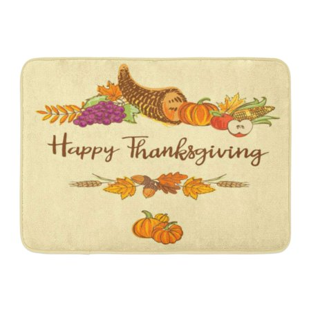 GODPOK Acorn Colorful Doodle of Thanksgiving Cornucopia Full Harvest Fruits and Vegetables with American Rug Doormat Bath Mat 23.6x15.7 inch