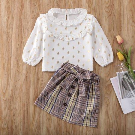 2Psc Toddler Baby Girl Fall Outfit Long Sleeve Polka Dot T-Shirt Tops High Waist Plaid Bowknot Mini Skirt Set - image 5 de 5