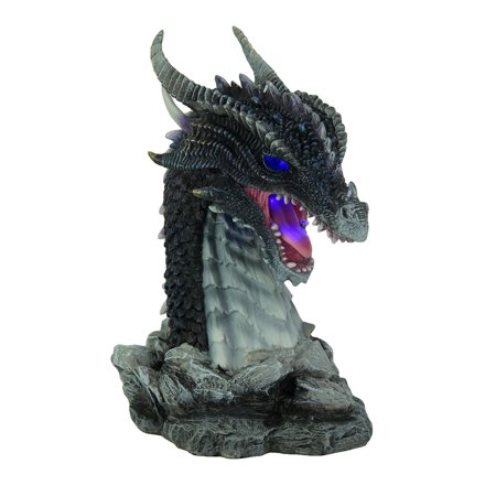 Hand Painted Obsidian Dragon Bust Statue With LED - Obsidian Dragon