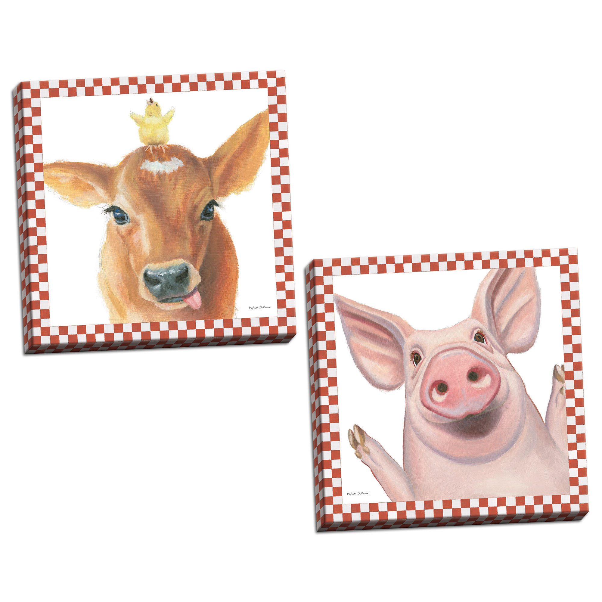 Gango Home Decor Contemporary Farm Friends III & IV by Myles Sullivan (Ready to Hang); Two 16x16in Hand-Stretched Canvases