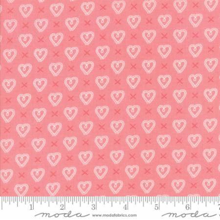 Sugar Pie~Cross My Heart Pink Cotton Fabric by Moda