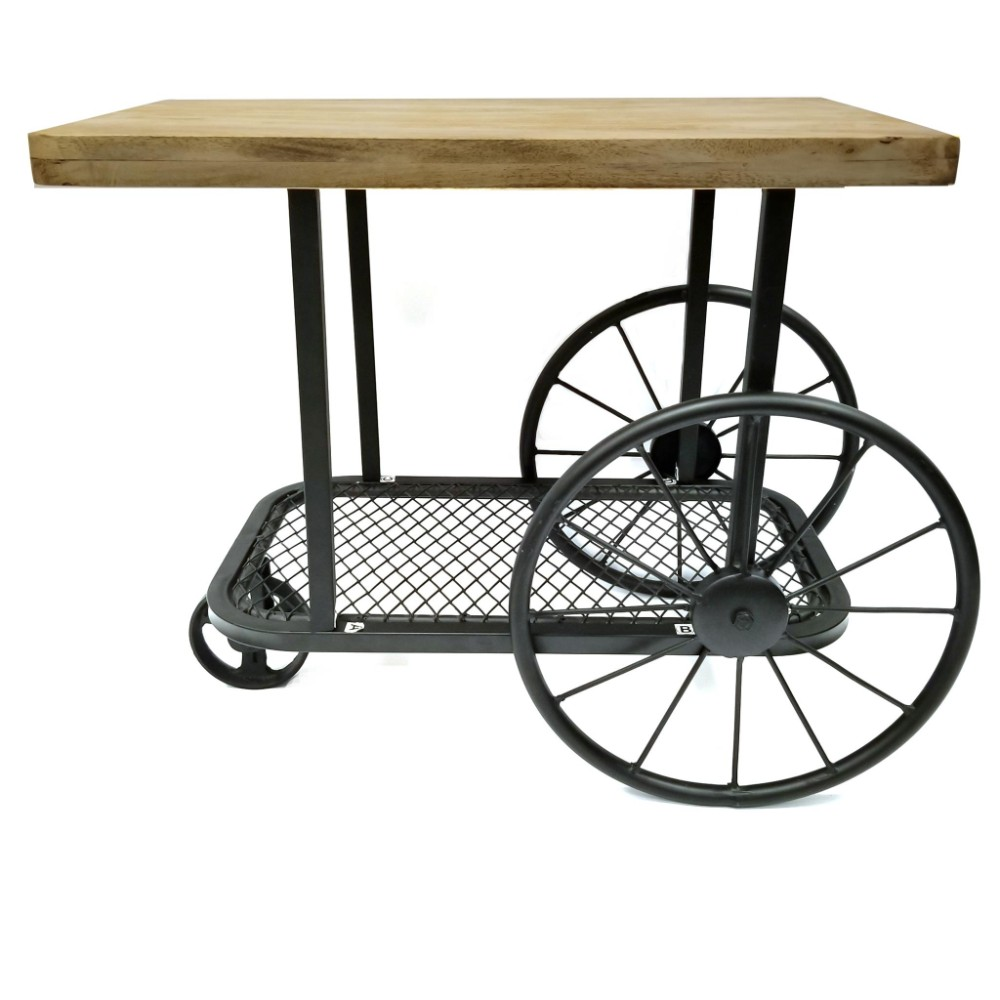 Industrial Design End Table With Wooden Top And Metal Wheels Base, Black  And Brown