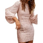 Women's Sequins Bodycon Long Sleeve Evening Party Cocktail Prom Mini Dress