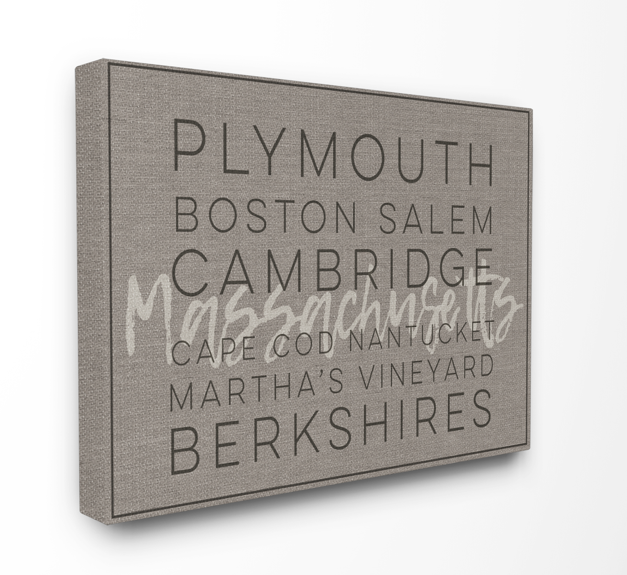 The Stupell Home Decor Collection Massachusetts Berkshires Boston Salem Typography Stretched Canvas Wall Art, 16 x 1.5 x 20