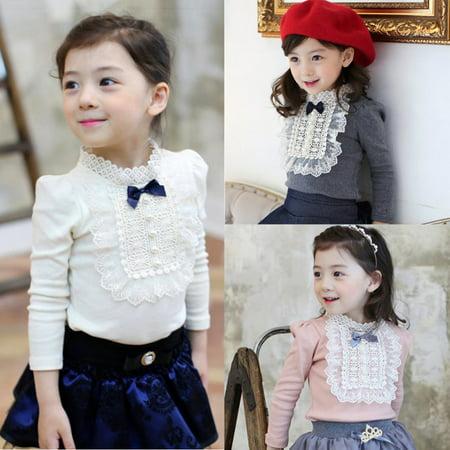 Kacakid Autumn Winter Toddler Baby Cute Bowknot Shirt Long Sleeve Princess Ruffle Tops Girls Clothes