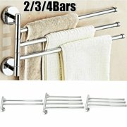 Stainless Steel Towel Bar Rack Holder Storage Holder Wall Hanger Swivel 2/3/4 Swing Arm Silver Rack
