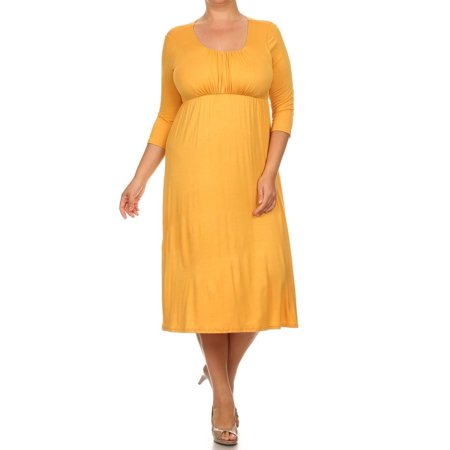702cff24afd Moa Collection - Plus Size Women s 3 4 Sleeves Babydoll Knit Dress -  Walmart.com