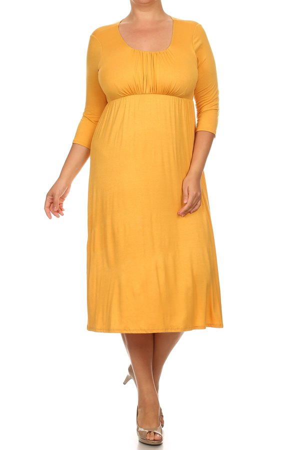 Plus Size Women's 3/4 Sleeves Babydoll Knit Dress
