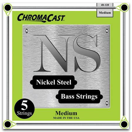 ChromaCast Nickel Steel 5-String Bass Guitar Strings, Medium Gauge(48-128) 5 String Medium Bass