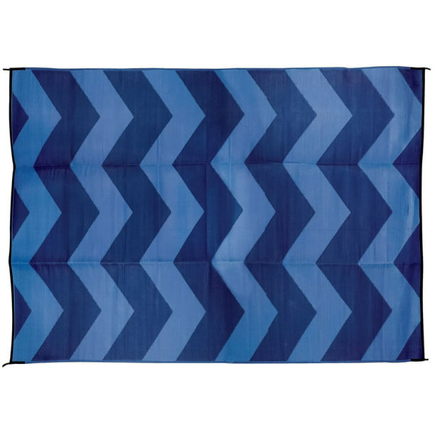 Camco 42878 Reversible Rv Outdoor Mat 6 X 9 Blue Chevron Walmart Com Walmart Com