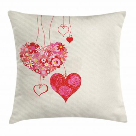 Engagement Party Throw Pillow Cushion Cover, Ornamental Floral Heart Icons Attached to Strings with Bow Tie, Decorative Square Accent Pillow Case, 18 X 18 Inches, Eggshell Multicolor, by Ambesonne](Egg On A String)