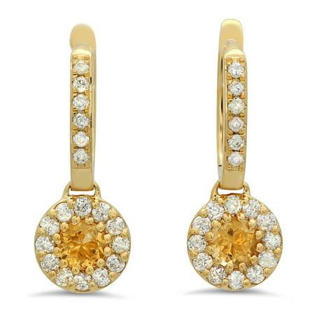 Dazzlingrock Collection 18K Round Citrine & White Diamond Ladies Circle Halo Style Dangling Drop Earrings, Yellow Gold 18k Wg Diamond Earrings
