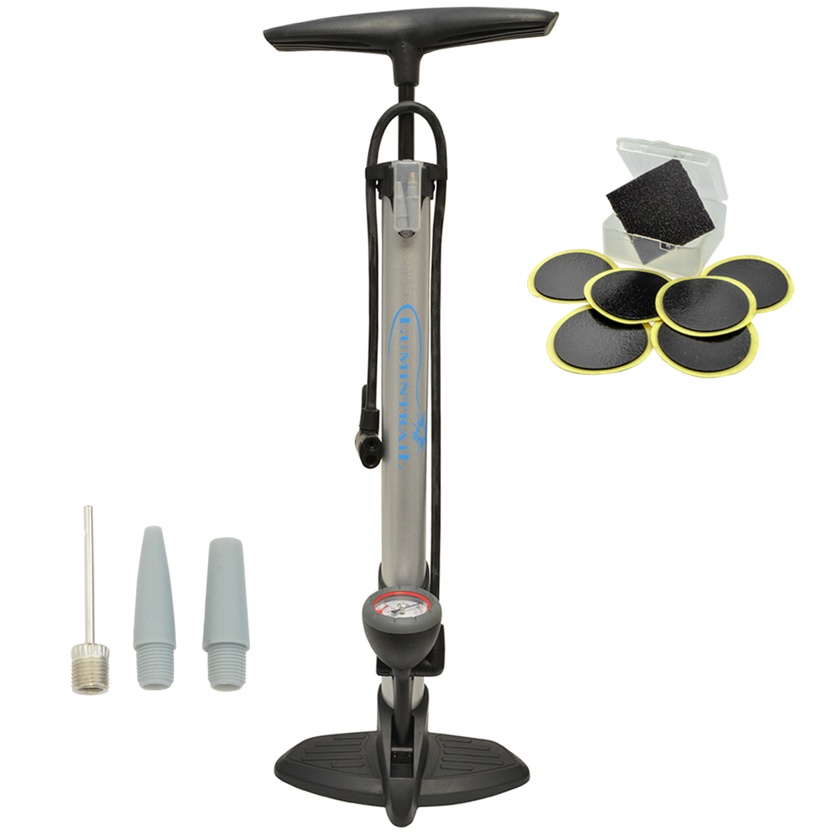 BoG Products Bicycle Floor Pump with Pressure Gauge for Presta /& Schrader val...