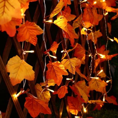 Qedertek Thanksgiving Lights,Fall Leaves 20 LED Battery String Light, Maple Leaves Pendant and Lighted Fall Garland for Living Room, Patio, Garden, Party, Wedding Decor