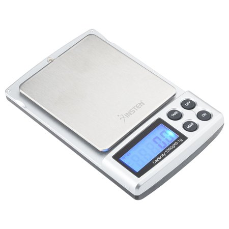 Insten Digital Pocket Scale .01 grams 1000g / 0.1g Portable Mini Scale for Jewelry Food Cooking Baking  Mail Stainless Steel Salver & 5 unit selection: g oz ozt dwt ct Food Scales in grams and ounces