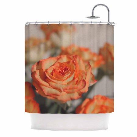 Kess Inhouse  Angie Turner Roses Orange Floral Shower Curtain  69X70