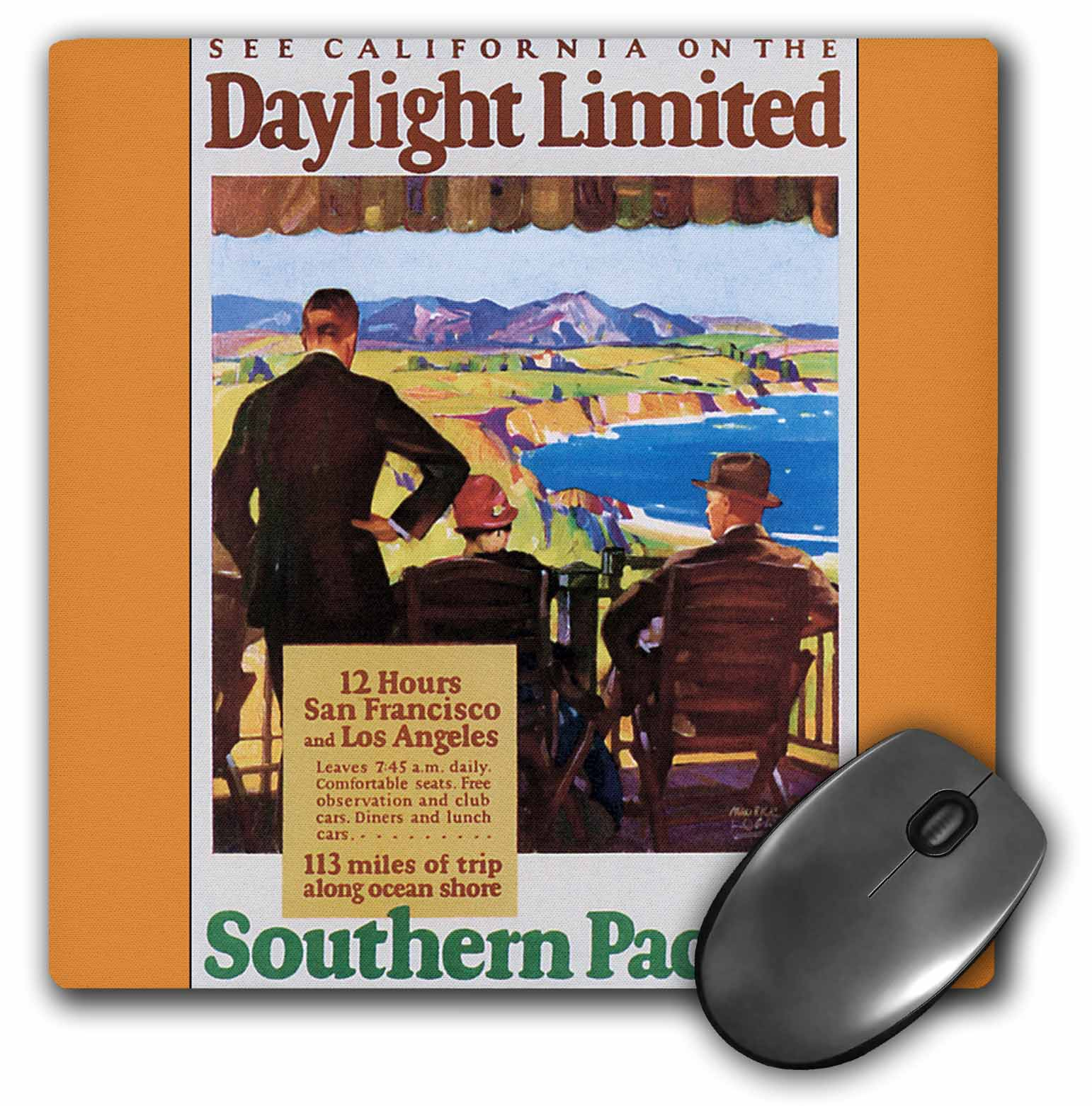 3dRose See California Southern Pacific Railroad Vintage Travel Poster, Mouse Pad, 8 by 8 inches
