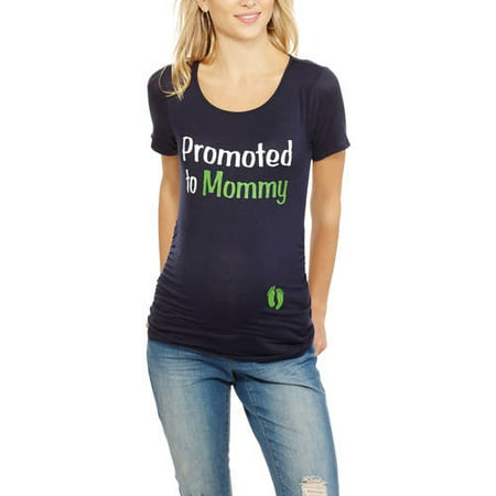 2ac0190a Planet Motherhood - Planet Motherhood Maternity Promoted to Mommy Short  Sleeve Graphic Tee With Flattering Side Ruching - Walmart.com