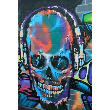 Canvas Print Skull and Crossbones Graffiti Wall Forest Painting Stretched Canvas 10 x 14