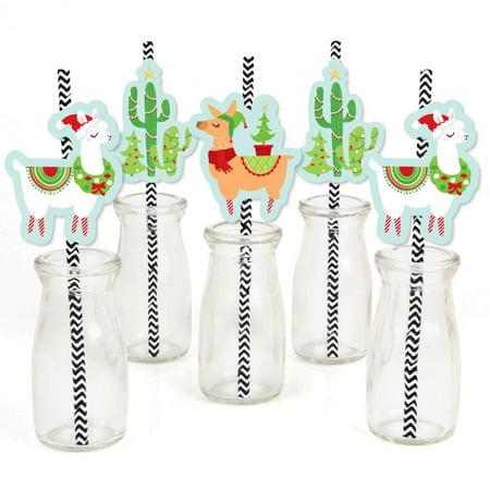Fa La Llama - Paper Straw Decor - Christmas Holiday Party Striped Decorative Straws - Set of - Holiday Straws