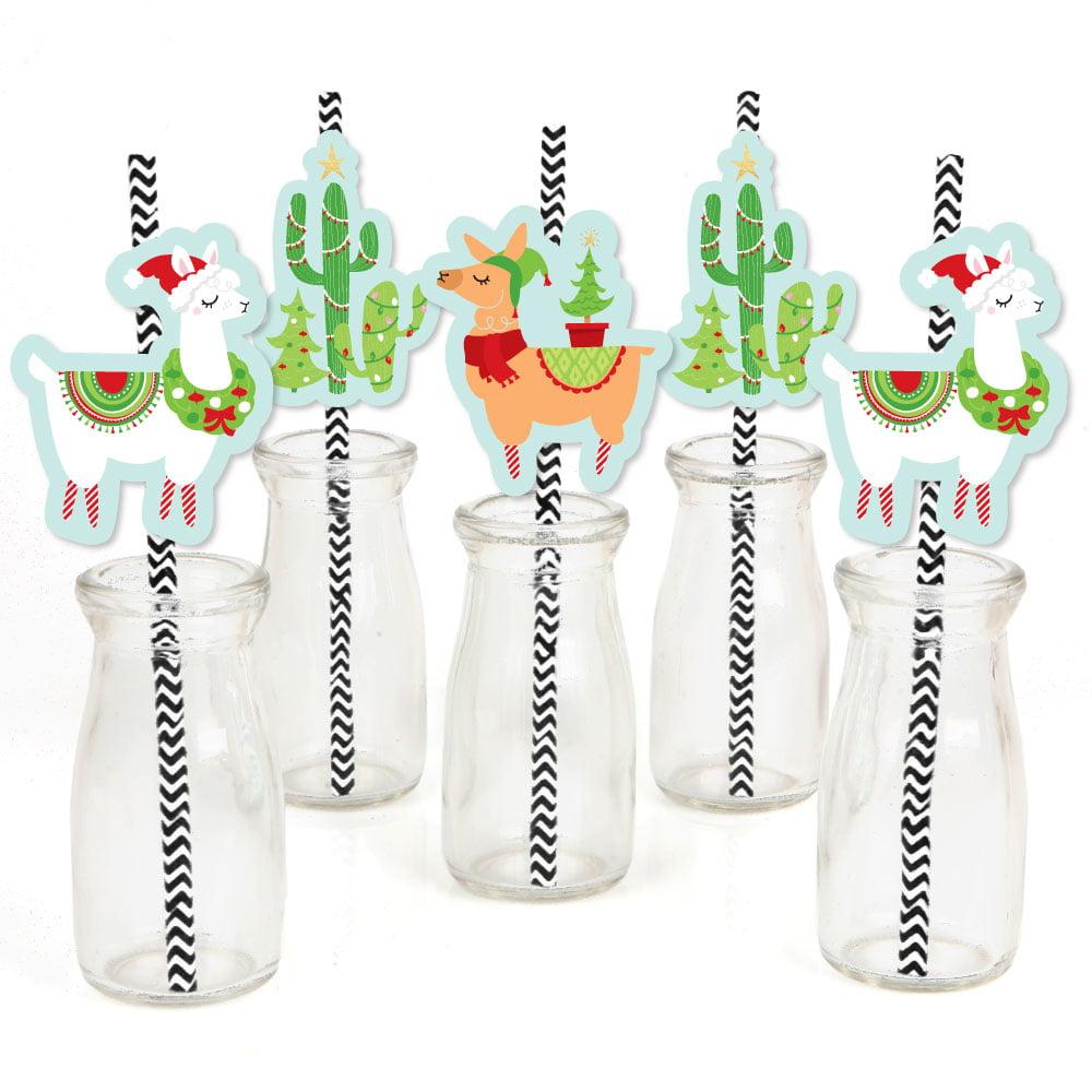 Fa La Llama - Paper Straw Decor - Christmas Holiday Party Striped Decorative Straws - Set of 24