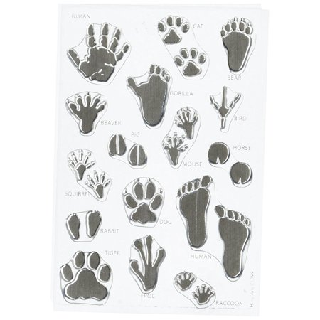 Animals Clear Stamps - Animal Prints Stamp Set, Clear, Includes Human, Gorilla, Cat, Dog, Bear, Beaver, Bird, Pig, Mouse, Horse, Squirrel, Rabbit, Tiger, Frog & Raccoon prints By Hero Arts