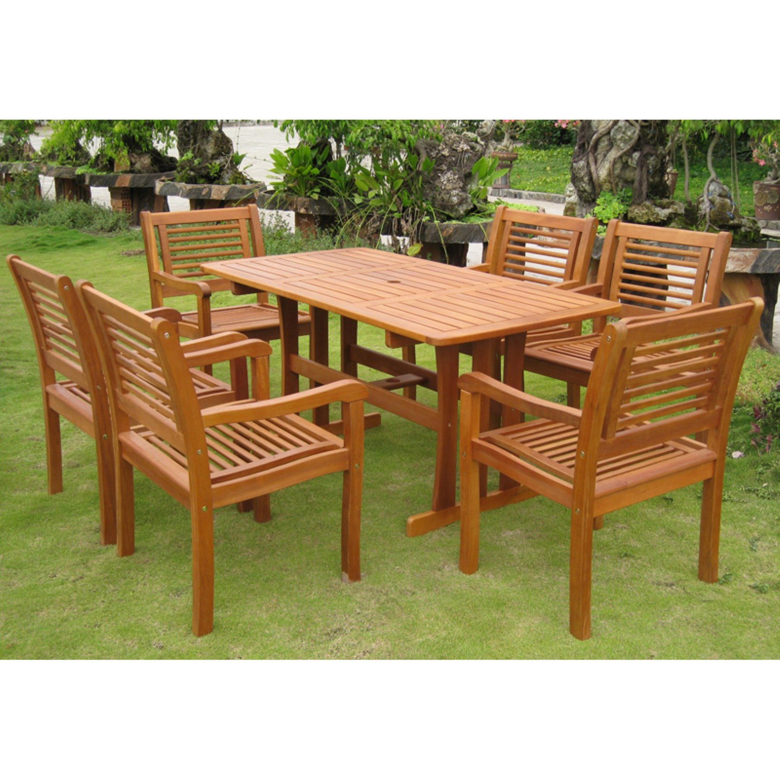 International Caravan Royal Tahiti Baza 7 pc. Patio Dining Set