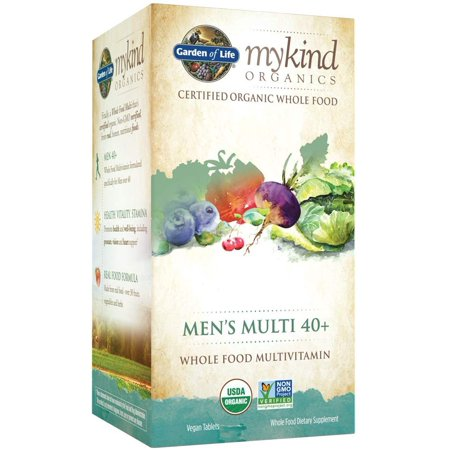 Garden of Life Multivitamin for Men - mykind Organic Men's 40+ Whole Food Vitamin Supplement, Vegan, 60 Tablets MULTIVITAMIN SUPPLEMENT: Specially formulated men's multivitamin with prostate support made from nutritious and organic whole foodsVITAMINS AND MINERALS: Our vegan multivitamin has 16 vitamins and minerals at 100% DV or higherPROSTATE SUPPLEMENT: mykind's vegan multivitamin for men 40+ includes selenium and manganese for prostate health, chromium for healthy metabolism and B-12 for energy.