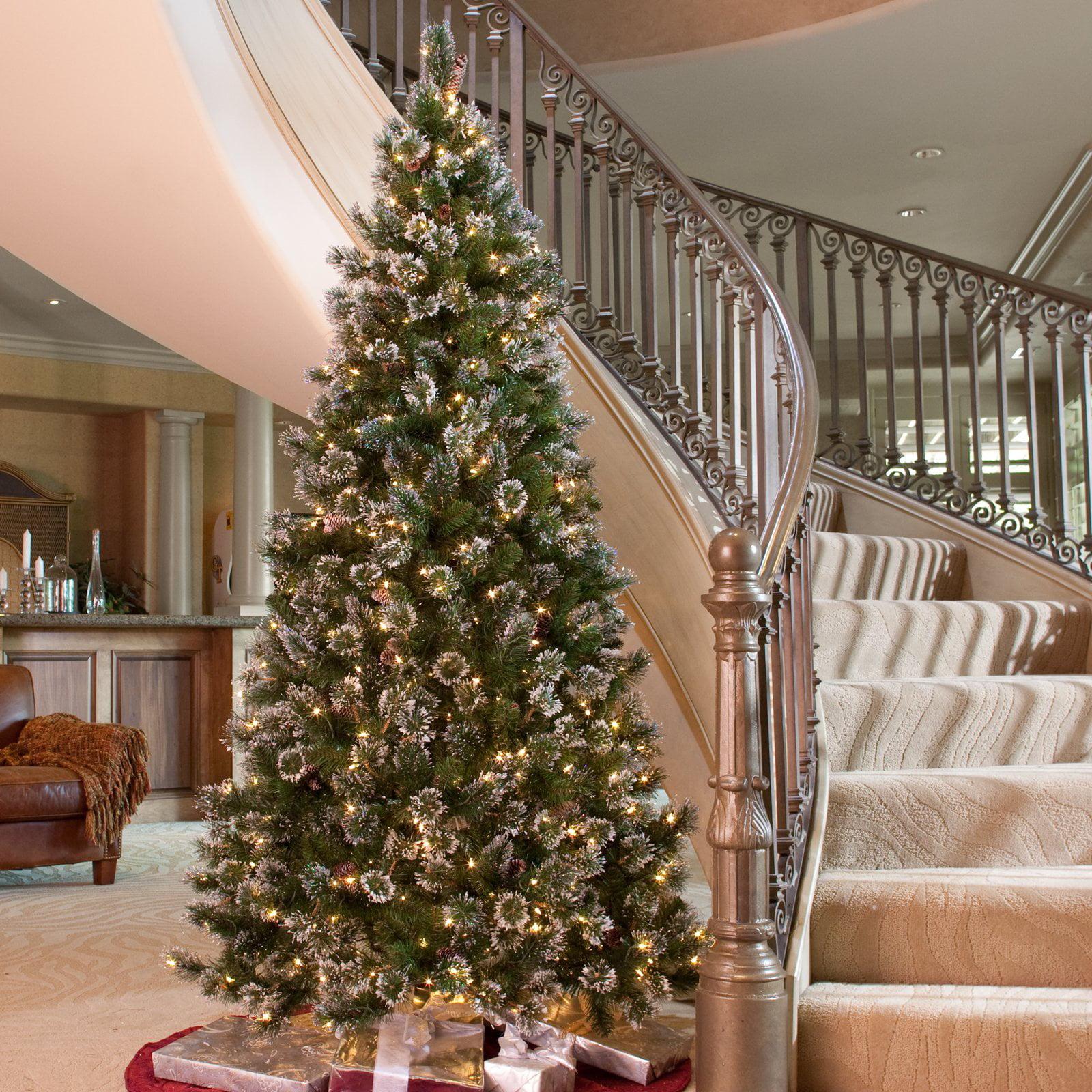 Glittery Pine Slim Prelit Christmas Tree Walmartcom