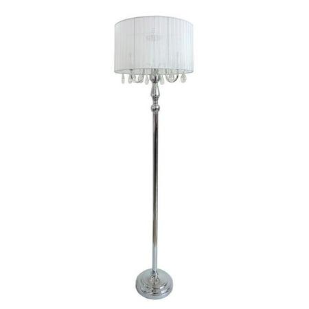 Elegant Designs Trendy Romantic Sheer Shade Floor Lamp with Hanging Crystals (Spiral Hanging Floor Lamp)