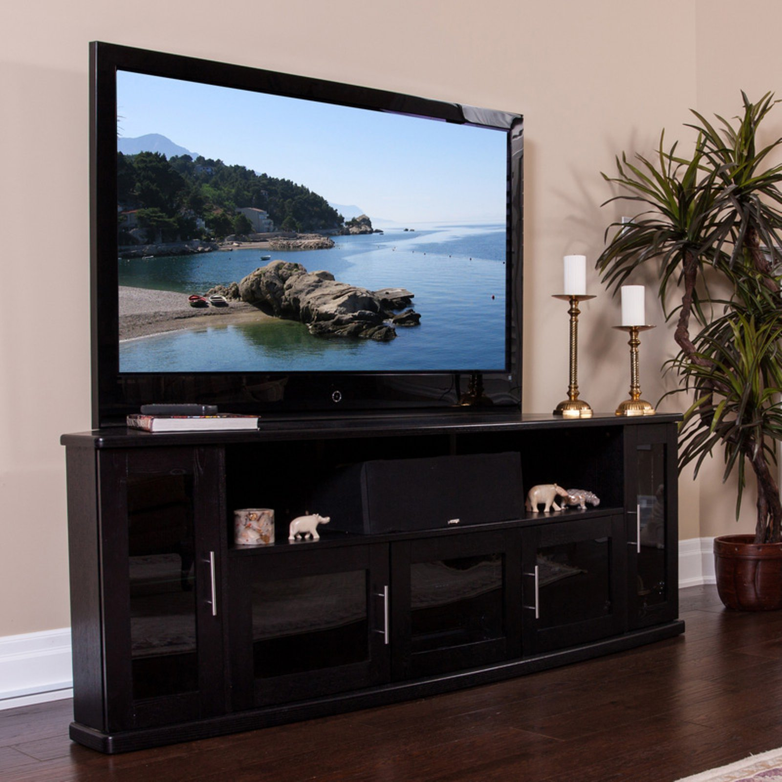 Plateau Newport 80 in. Corner Wood TV Stand - Black Oak Finish