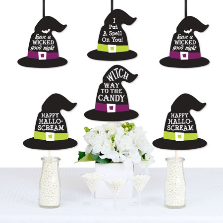 Happy Halloween - Witch Hat Decorations DIY Witch Party Essentials - Set of 20 (Halloween Witch Hat Diy)