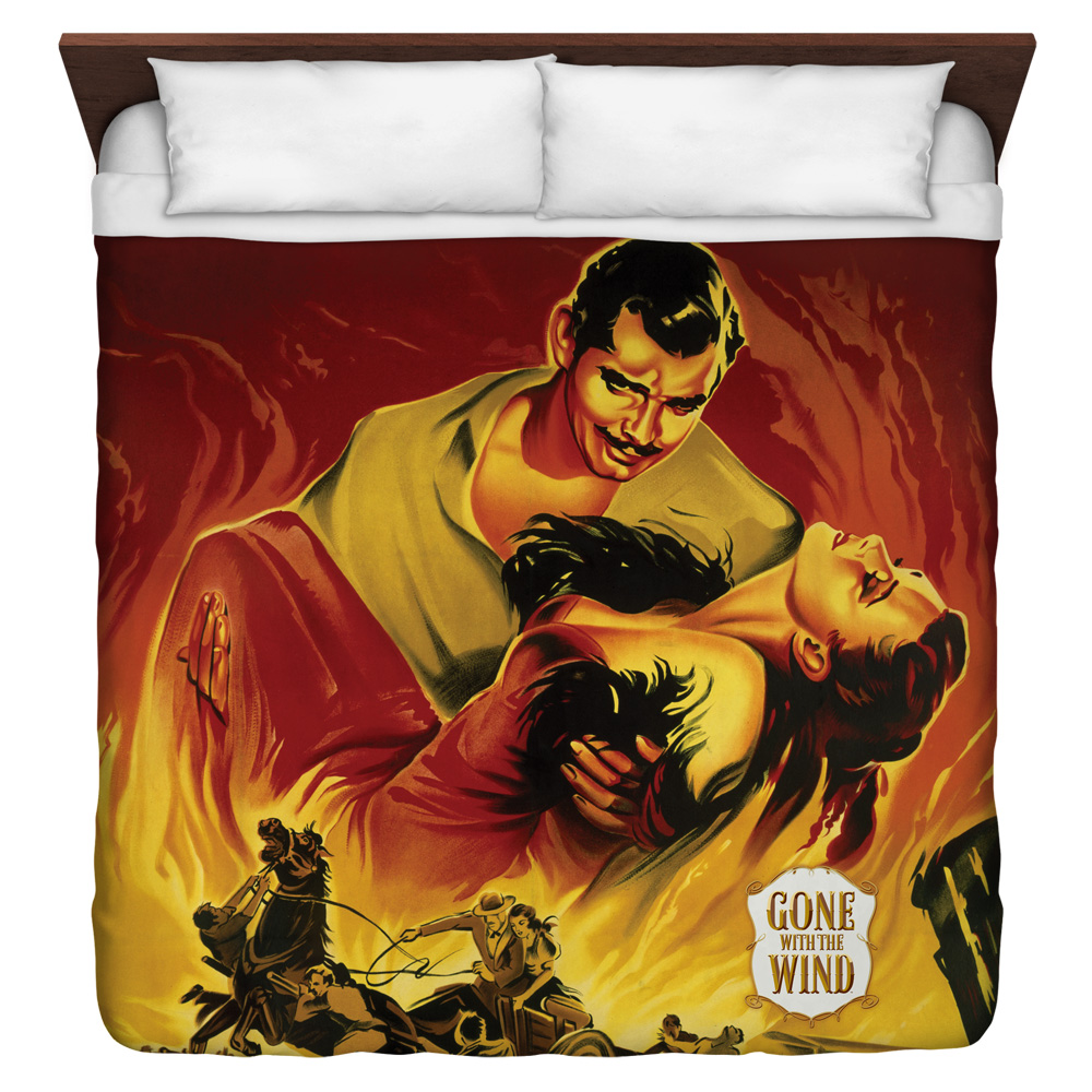 Gone With The Wind Fire Poster King Duvet Cover White 104X88