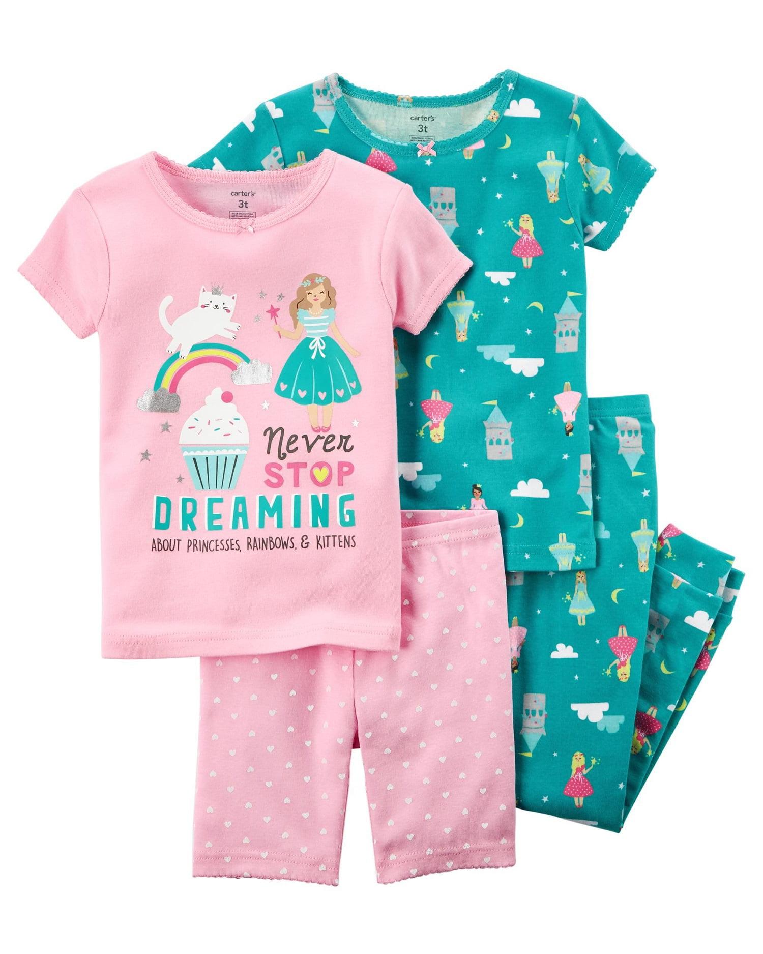 Carter's Baby Girls' 4-Piece Snug Fit Cotton PJs, 12 Months