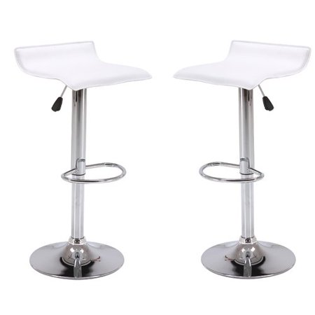 Vogue Furniture Direct Adjustable Height Swivel Barstools with Footrest, White (Set of 2) VF1581045-2 ()