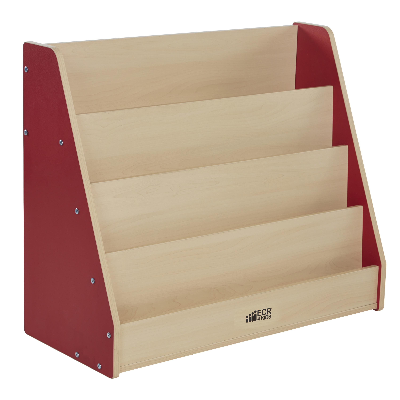 Ecr4Kids Colorful Essentials Kids Bookshelf, 4-Tier, Multiple Colors