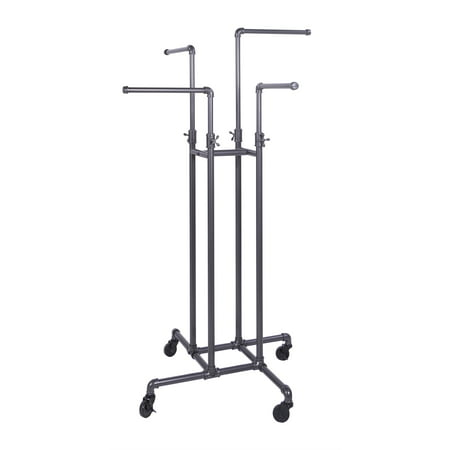 Clothing Rack Econoco - Heavy Duty Pipeline Adjustable, 4 Way Rack, Plumbing Pipe Clothes Rack, Anthracite Grey Econoco?s Heavy Duty Pipeline Adjustable clothing rack is the premiere clothing rack for store display! This fixture for clothing has 4 straight arms. This allows for any store to place their clothing on this clothing store display rack any way that best fits their needs. With the arm height being adjustable on this clothing rack it allows the customer to put the arm anywhere from 48? to 72?. Not only does this 4-way clothing rack have adjustable height but it is plumbing pipe durable modern construction for the ultimate showroom look. With this Anthracite Grey 4-way clothing rack it adds to the ambiance of any store or boutique that you choose to place this clothing rack. With the clothing rack weighing 46 pounds you can rest assured no matter where you place this clothing rack that it will stay put where it is meant to. With this clothing store rack having four 16? long arms, and its stable four-caster base ensures that even heavy hanging garments, such as winter coats, will not cause the unit to topple over and have it displayed and readjusted to whatever needs fit your store the best!