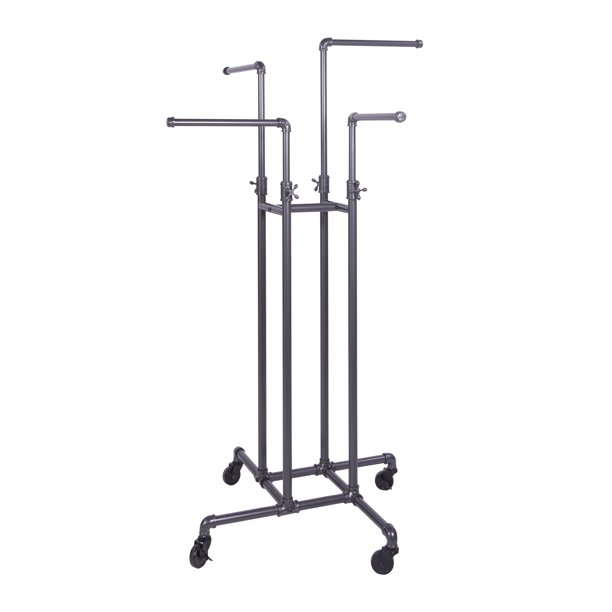 Clothing Rack Econoco Heavy Duty Pipeline Adjustable 4 Way Rack Plumbing Pipe Clothes Rack Anthracite Grey Walmart Com Walmart Com