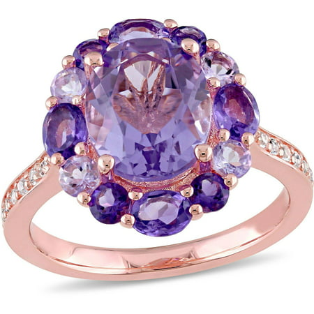 Tangelo 3-3/4 Carat T.G.W. Amethyst and Rose de France with White Topaz Rose Rhodium over Sterling Silver Halo Cocktail Ring