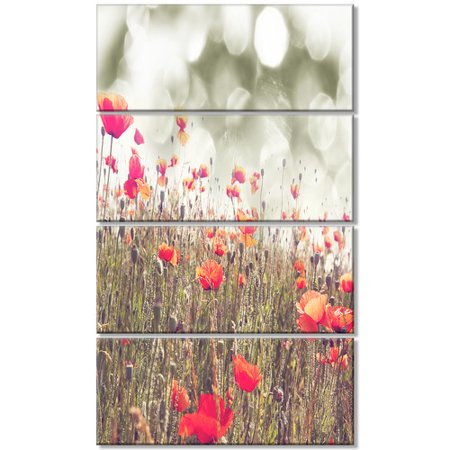 Design Art 'Red Poppy Flowers Meadow' 4 Piece Graphic Art on Wrapped Canvas Set (Meadows Design Lock Set)