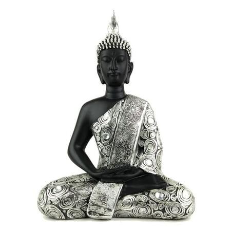- 11 Inch Thai Buddha Black And Silver Jeweled Statue