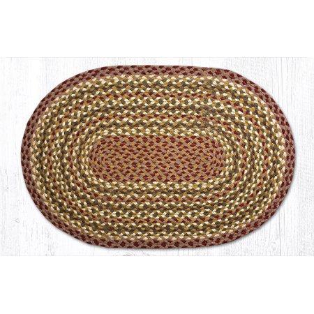 "Earth Rugs C-324 Olive / Burgundy / Gray Oval Braided Rug 20"" x 30"""