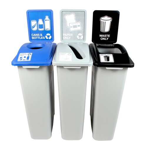 Busch Systems Waste Watcher  Paper, Cans and Bottles Slot Circle 69 Gallon 3 Piece Recycling Bin Set